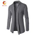 2017 Sweater Men Long Section Fashion Checkered Knitted Cardigan Youth Men Slim Sweatercoat Buttonless Knit Jacket Cardigan Coat