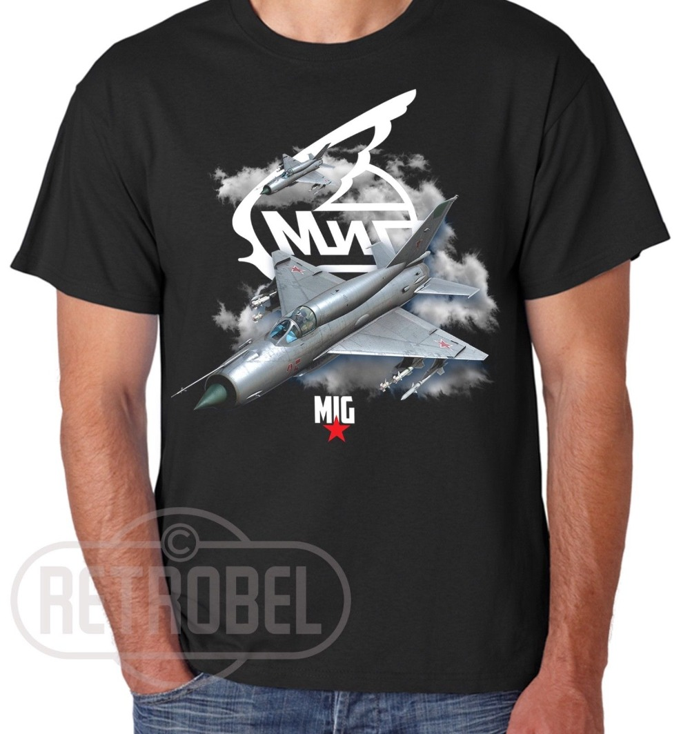 New Popular Style Man T Shirt Mig 21 Russian Aircraft Military Air Force Aircraft Fighter T Shirt Black Cool T Shirts For Men