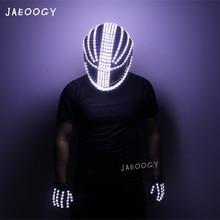 Night show LED helmet stage performance glow mask gloves motorcycle locomotive fluorescent props punk rock DJ laser