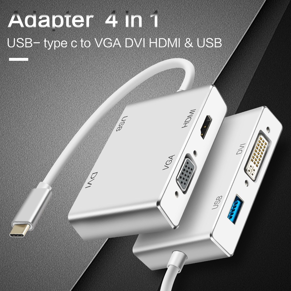 4 in 1 USB C Type c to VGA DVI HDMI Cable Converter High Quality USB Adapter for Macbook Tablet Monitor Laptop