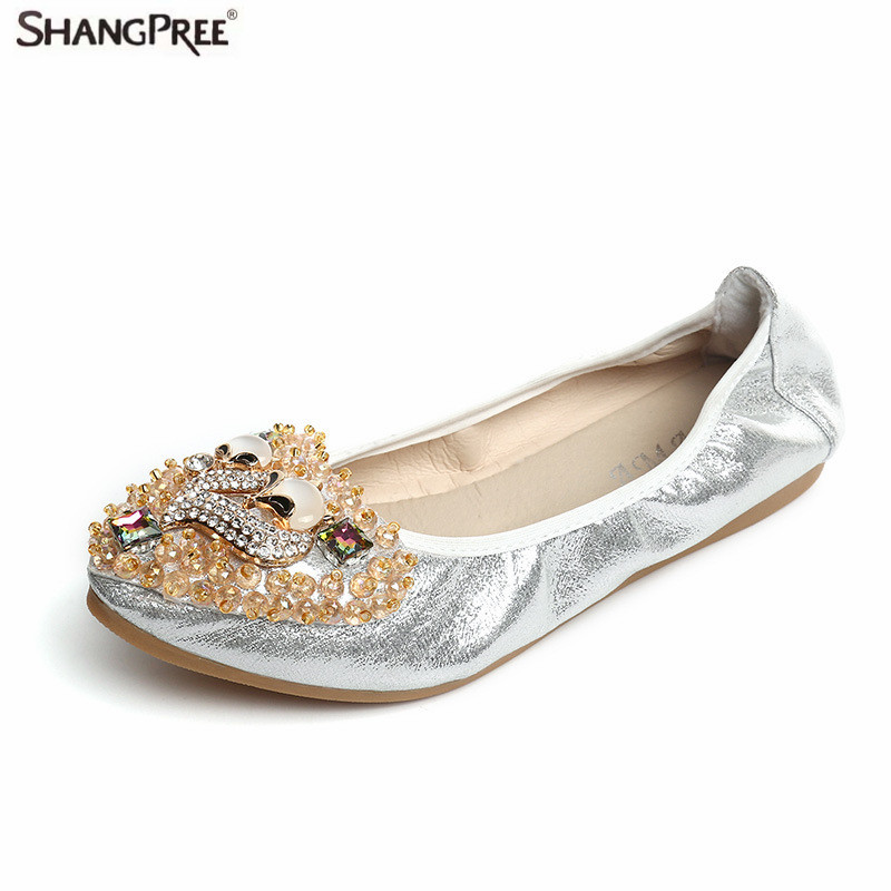2017 Hot Women Crystal Ballet Flats Shoes Casual Shoes folding Rhinestone Soft Driving Flats Dancing Egg Rolls Loafers 3pcs set newborn girls christmas clothes set warm hat letter print romper love arrow print pants leisure toddler baby outfit set