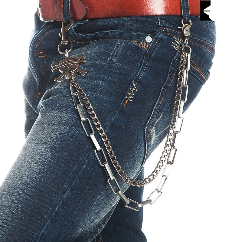Man Street Hiphop Punk Rock Alloy Plating Skull Jeans Pant Chains