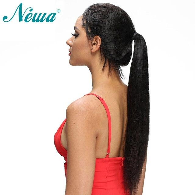 Pelo de Newa 13x6 pelucas de pelo humano frontal de encaje Pre desplumado con pelo de bebé peluca frontal de encaje recto brasileño pelucas Remy para mujeres negras