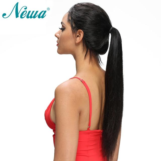Pelucas de pelo humano frontal de encaje recto NYUWA predesplumadas con pelo de bebé pelucas delanteras de encaje sin pegamento nudos blanqueados Remy brasileño pelo