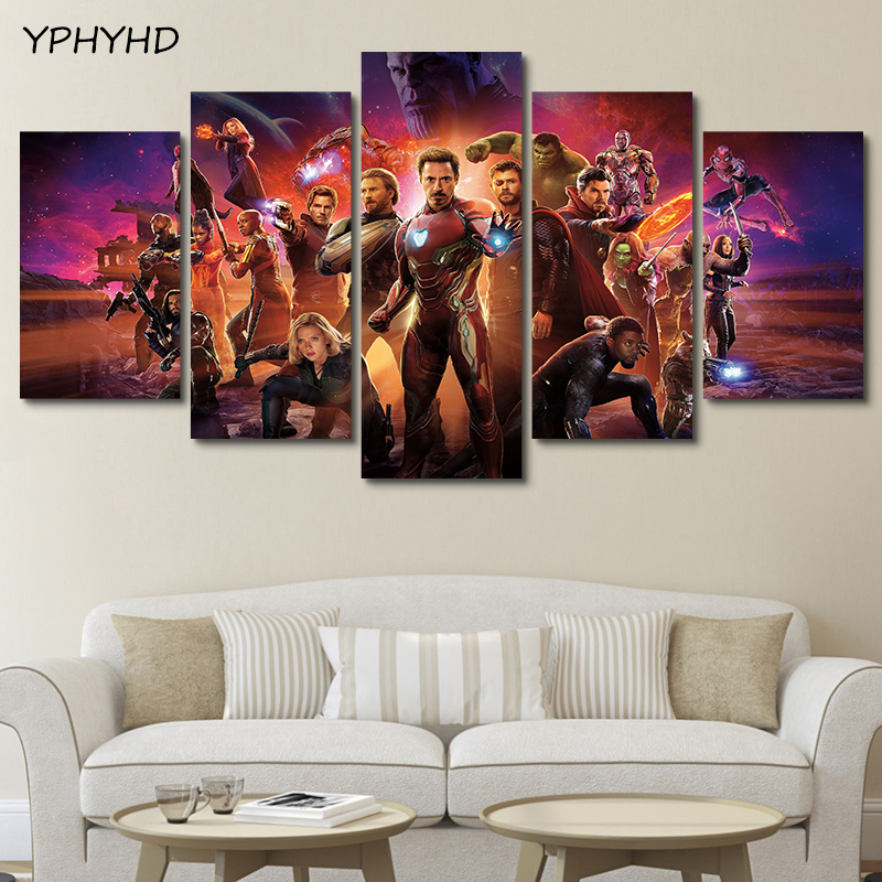 YPHYHD 5 Pieces Movie Poster Avengers Infinity War Together Wall Art Pictures Oil Painting Canvas Prints for Home Decoration image