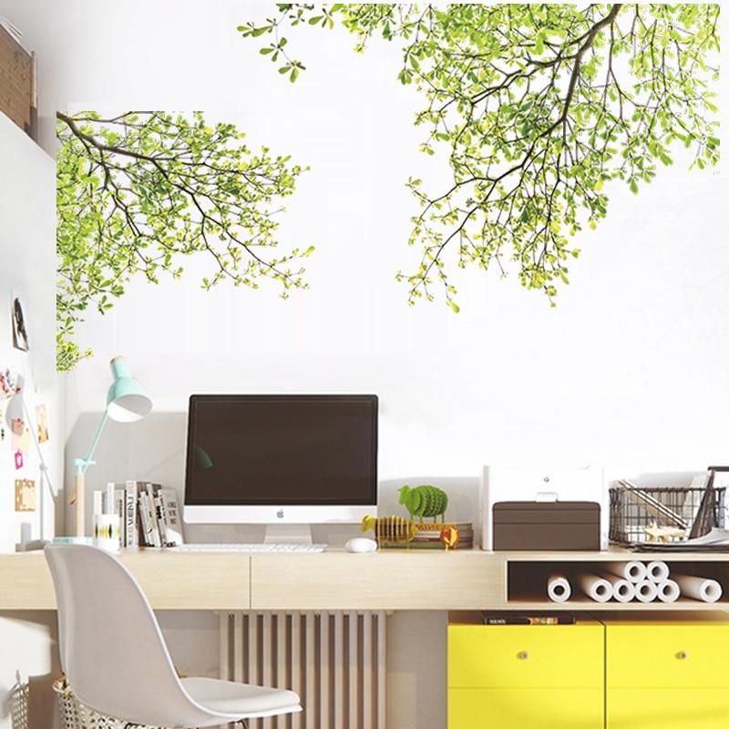 Green tree branch wall sticker vinyl living room wall - Decoracion de paredes con vinilos ...