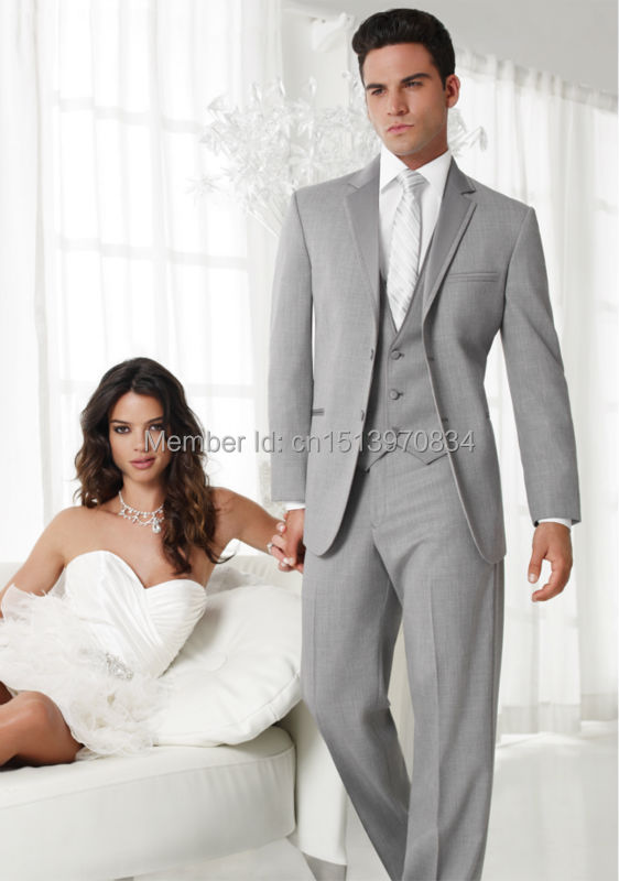 Online Shop New Style Two Buttons Light Grey Groom Tuxedos Best ...
