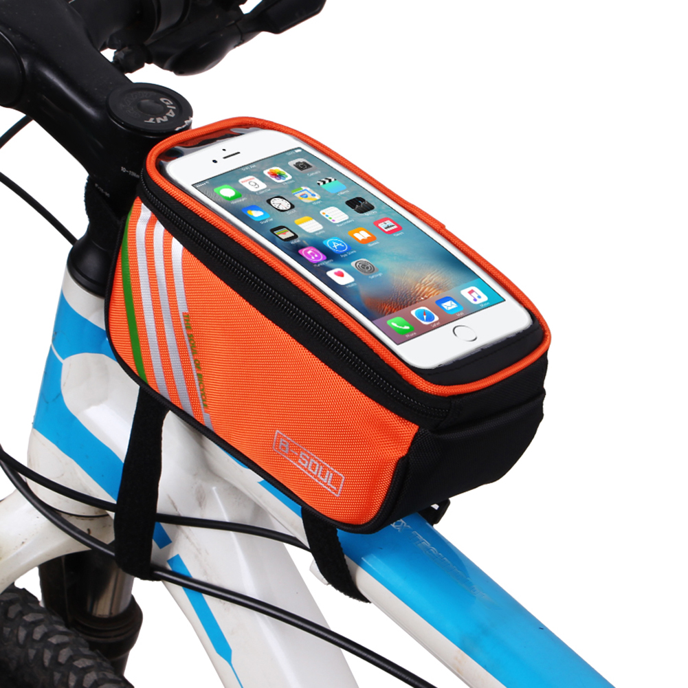 B-SOUL 1.5L Cycling Phone Bag MTB Bicycle Road Bike Front Tube Bag Waterproof Bike Frame Bag Touch Screen Phone Case Holder bicycle touch screen tube bag bike cycling touch screen mobile phone bag pannier bag