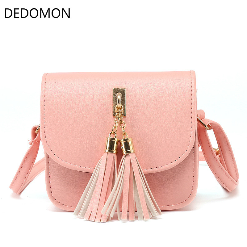 New Arrival Women Female PU Leather Shoulder Bag Simple Fashion Ladies Candy Color Tassel Tote Mini Handbag Popular new 2017 women s pu leather tassel mini round handbag fashion ladies bag purse shoulder bags small tote female satchel
