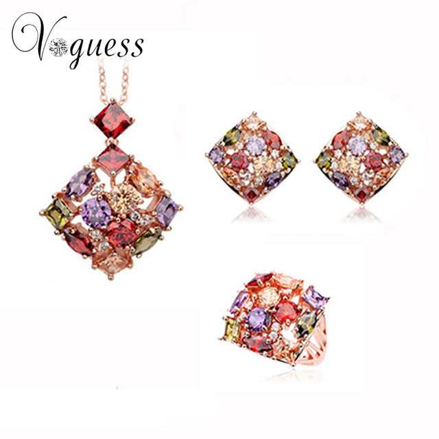 VOGUESS Classical AAA CZ Jewelry Sets Rose Gold Filled Square Earring Necklace & Ring Bridal Jewelry Set Surprise Gift
