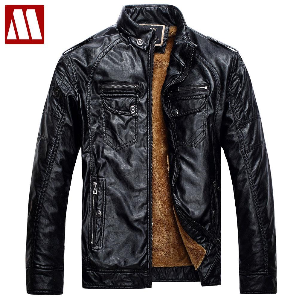 Для мужчин s Кожаные куртки и пальто из искусственной кожи Jaqueta Couro Мужская куртка человек Jaqueta De Couro Для мужчин зимняя кожаная куртка F049