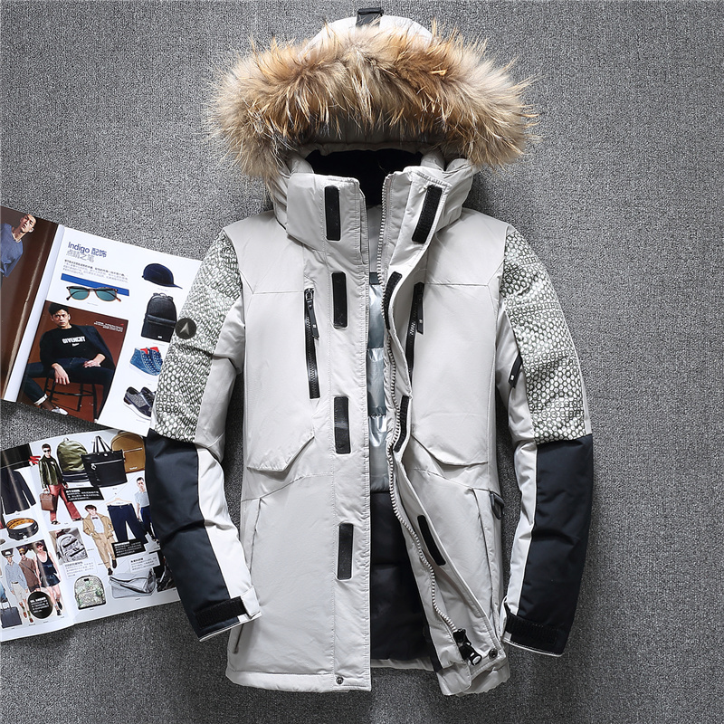 2018 New Fashion Fur Collar Winter Coat Men Top Quality Thicken Warm Windproof Duck Down Jacket Men Hood Removable Parka