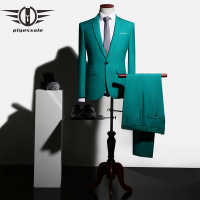Plyesxale Green Suit Men Groom Wedding Suits Slim Fit Party Dinner Prom Suits For Men 2018 Elegant Jacket+Pants Dropshipping Q11