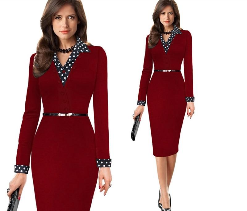 Frauen Einteiliges Polka Dot Büro Kleid Lange Kleider Elegante Dame ...