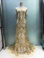 Francés africano tela de encaje de tul de Alta calidad para el vestido de 5 yardas Hermosa encajes neto de malla con lentejuelas al por mayor JL1977