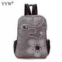 Hemp Backpack Fantasies Womens Travel Backpack Flower Embroidered Backpack Vintage Ethnic Style Shopping Bags Feminina Mochila