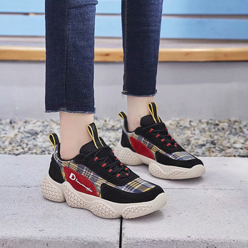 Dumoo Girl 2018 Autumn Sneakers Women Shoes Plaid Printing Casual Shoes Heel 4cm Platform Ladies Shoes Zapatillas Mujer Casual