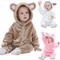 Macacão de bebê 2016 Hot Outono inverno Quente Roupas de Bebê Manga Longa Flanela Macia Do Bebê Meninas Meninos Roupas Urso Dos Desenhos Animados Macacão