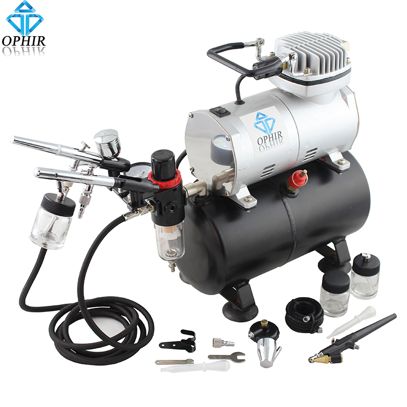 OPHIR 3x Dual Action Airbrush with Air Tank Compressor Spray Gun for Cake Decoration Makeup Car Model Hobby _AC090+004A+071+072 ophir 0 4mm single action airbrush kit with 5 adjustable mini air compressor cake airbrush gun for makeup body paint ac094 ac007