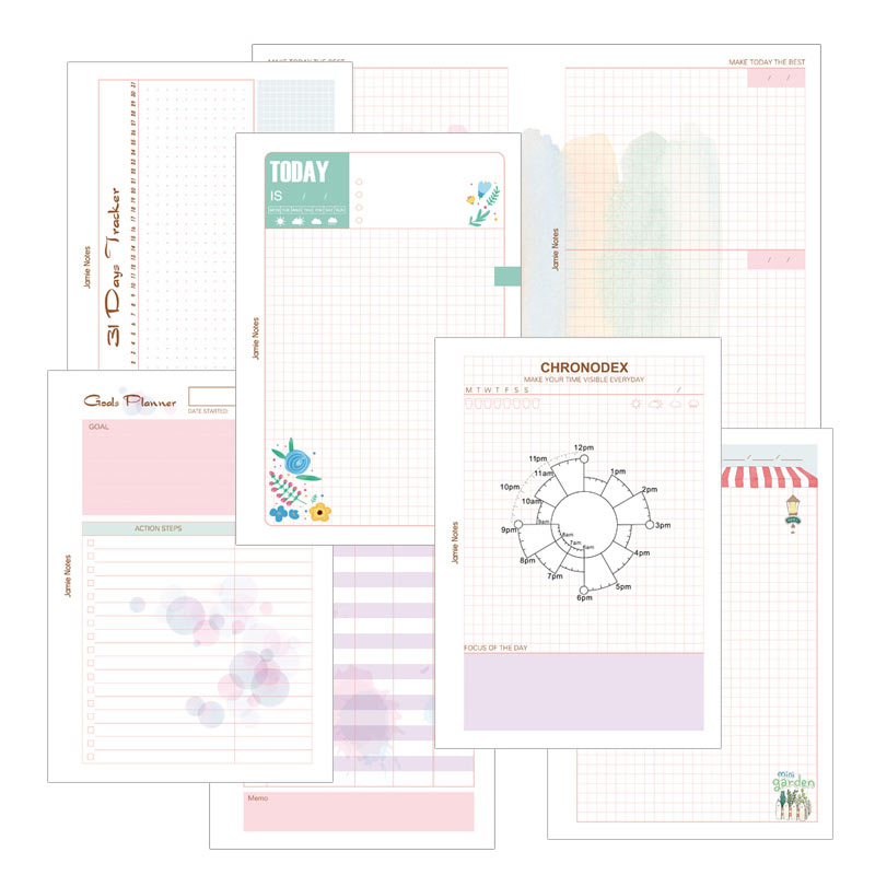 Yiwi Notebook Spiral Planner Refill Inner Paper A5 A6 Pages Today Grid 31 Day Tracker Dudget Tracker Chronodex Trade Planner