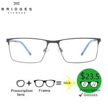 BRIDGES Metalen Recept Brillen Optisch Bifocaal Progressief Meeklechtend Anti Blauw Helder Lens Prescription Glasses For Men