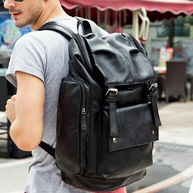 87be9670fb Famous Brand Men Backpack Mens Leather Bag Black Large Laptop Travel  Backpack School Bag High Quality