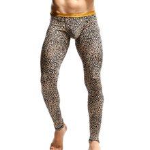 d72b8ab37a59 Men Casual Long john Pants Leopard Print Skinny Leggings Sport Trousers  Winter Thermal Quick drying Men