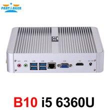 Новый 6th поколения безвентиляторный мини-ПК Core i5 6360U Barebone Windows 10 Мини ПК Nettop 4 К VGA HDMI HTPC 300 м Wi-Fi DDR4 Оперативная память
