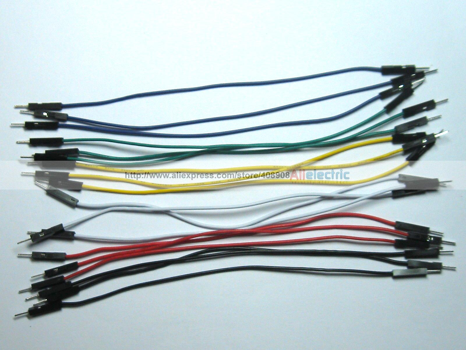 ФОТО 300 Pcs Jumper Wire Male to Male 1 Pin Pitch 2.54mm 6 Colors 15cm 6