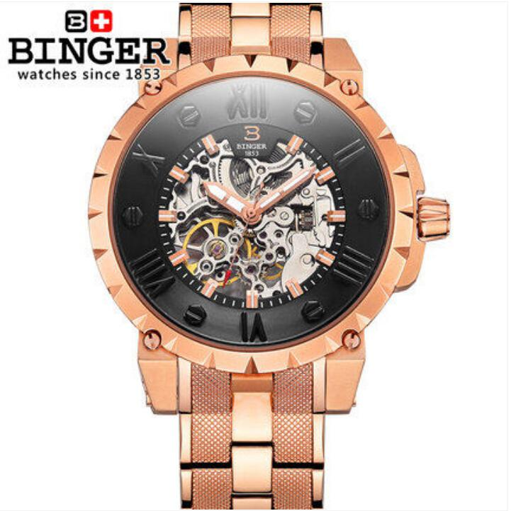 Switzerland BINGE watches men luxury brand mechanical hand wind full stainless steel Wristwatches water resistant B-5032-a5 fashion men mechanical hand wind watches men skeleton stainless steel wristwatches for male luxury golden watch men
