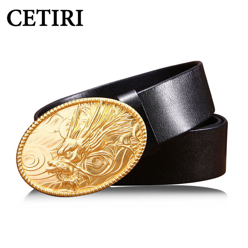 2017 Luxury Dragon Snap Buckle Genuine Leather Belt Men Designer Belts High Quality Jeans Straps Wide Belt Cinto Masculino