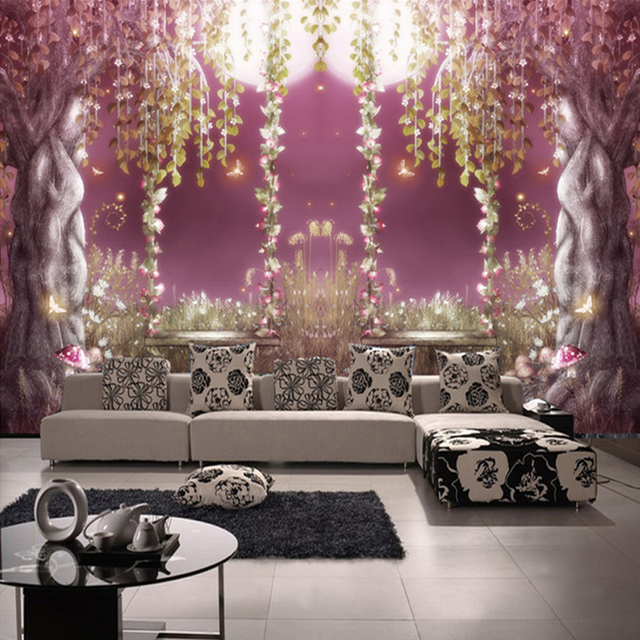 Europäischen Stil Märchenwald Romantische Moonlight 3D Wandbild ...