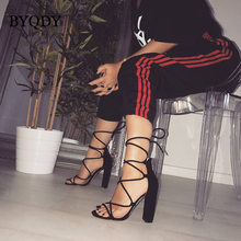 BYQDY Fashion Flock Summer Ankle Strap Women Sandals High Cross-tied Square Heel Party Women Sandals Ladies Cover Heels Size 42
