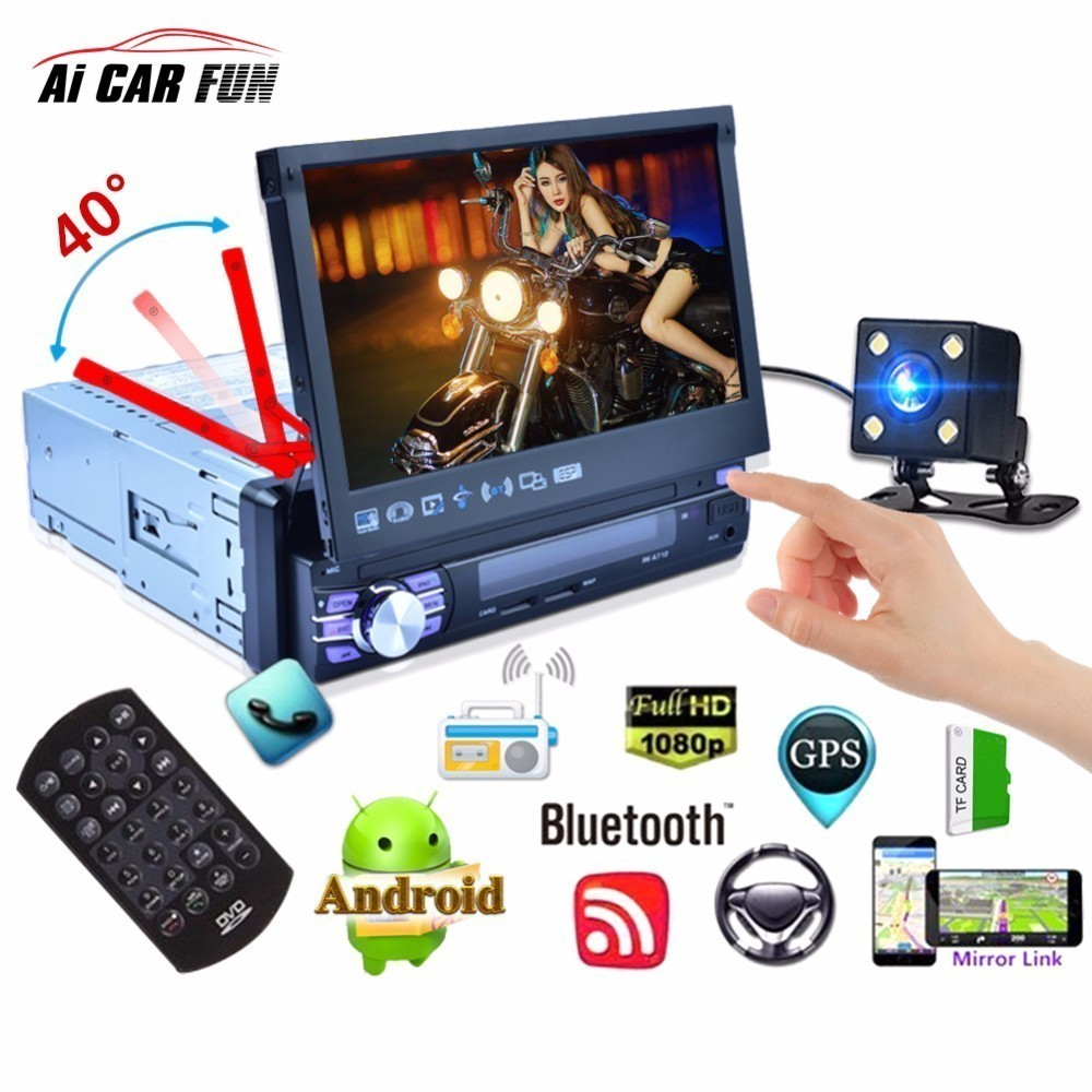 Android 6.0 7 Inch Quad-core Car MP5 Player Bluetooth GPS Navigation 3G WiFi AM FM RDS Autoradio Automatic Retractable Screen decor