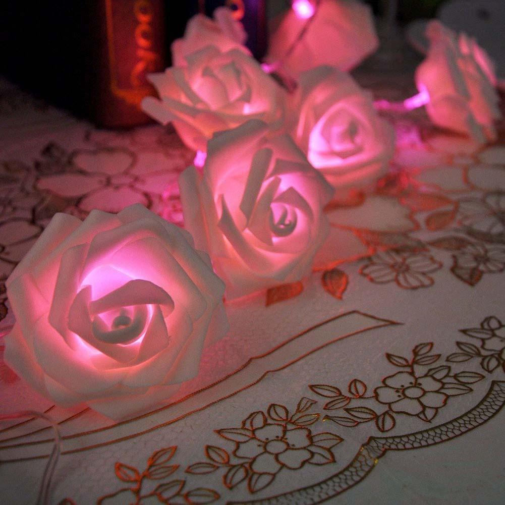 Bedroom romantic lighting - 20 Led Romantic Rose Flower String Light Valentine S Day Gift Docoration Wedding Party Bedroom Decor Pink