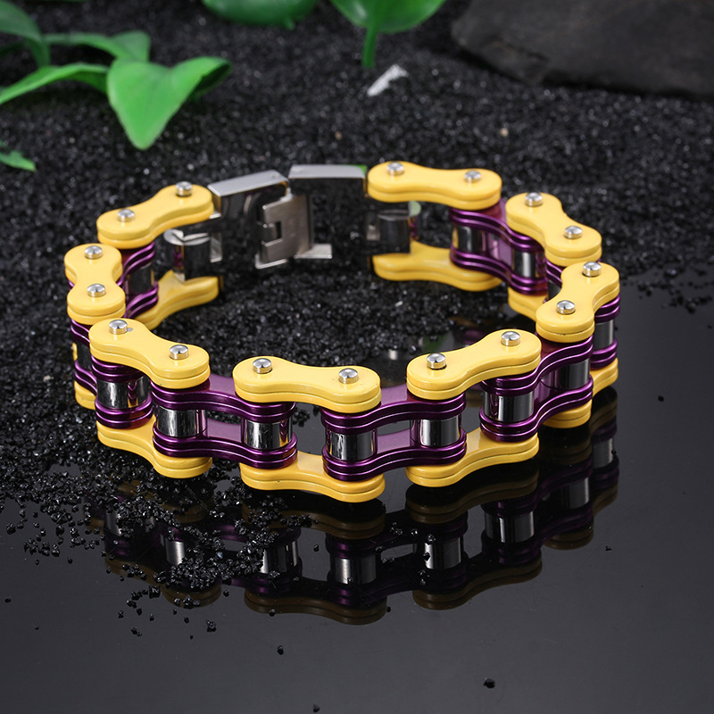 Titanium steel locomotive punk bracelet men 's stainless steel bicycle chain bracelet jewelry accessories wholesale