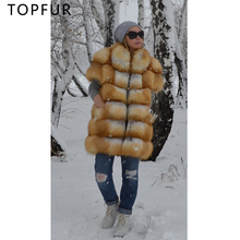 TOPFUR Women Winter Natural Real Gold Fox Fur Coat Half-Sleeve Luxury Outwear Thick Jacket With Collar