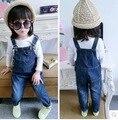 Осень зима новорожденных девочек одежда джинсовая дети комбинезоны темно-синий твердые дети infantil наряды целом