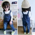 autumn winter baby girls clothes denim kids overalls dark blue solid children infantil outfits overall