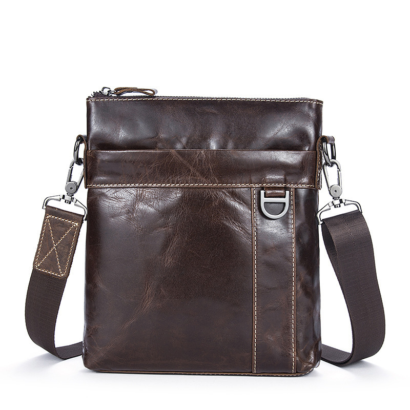 Kerea Retro Man Briefcase Bag Cowhide Messenger Bags Genuine Leather Male Commercial Cross Body Bag Casual Men Shoulder Bag