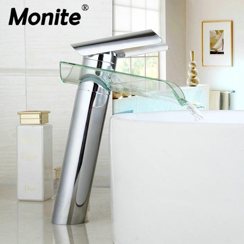 Bathroom Waterfall Faucet Glass Waterfall Wash Basin Mixer Tap Deck Mounted Single Handle Bathroom Faucet