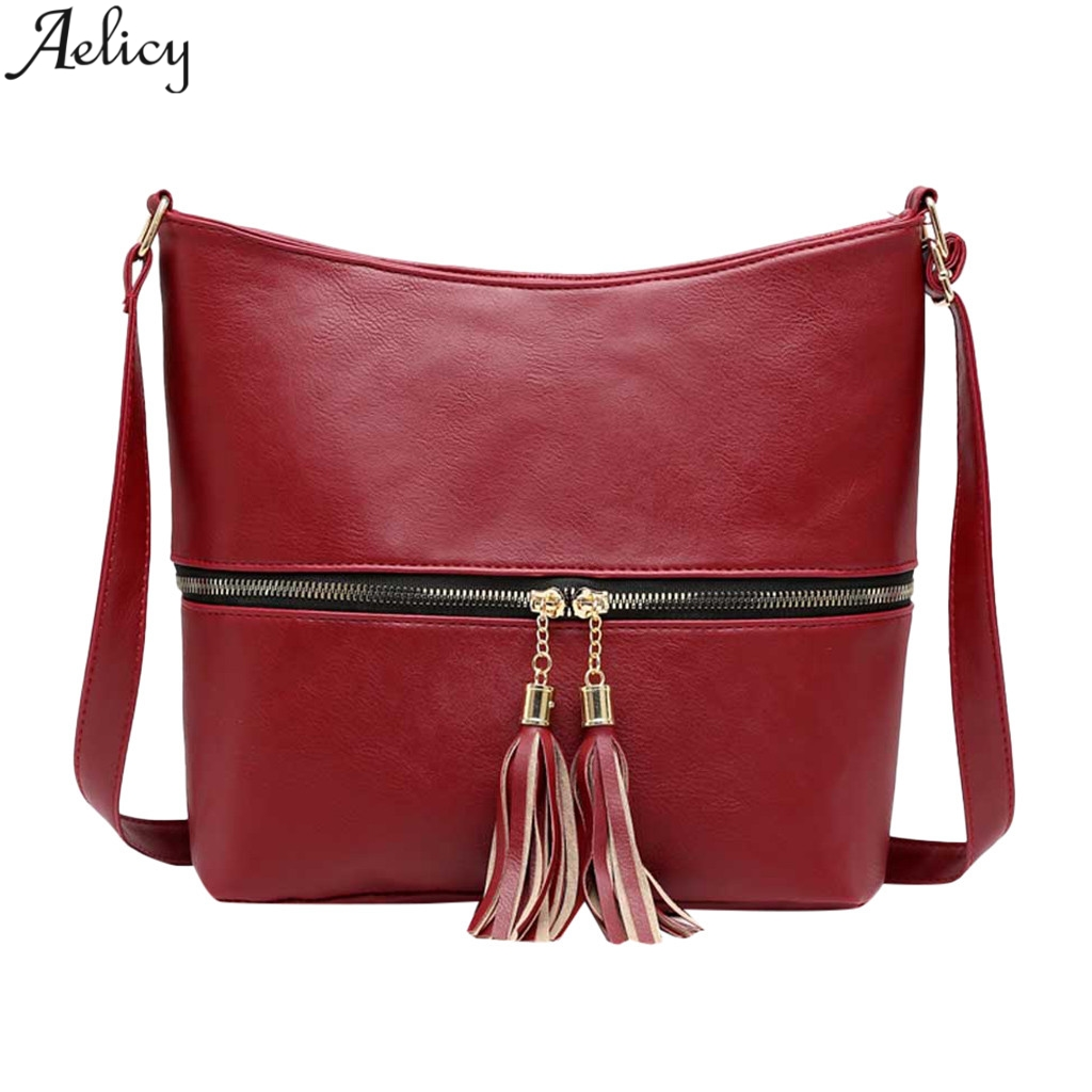 Aelicy Women's Fashion Flap Solid Pu Leather Zipper Messenger Bag Lady Fashion Versatile Simple Style Crossbody Bag Hot Sales