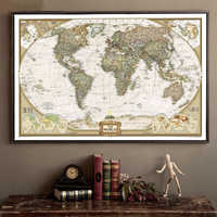 Vintage World Map Home Decoration Antique Poster Wall Chart Retro Paper Matte Kraft Paper 28*18inch Map Of World no frame