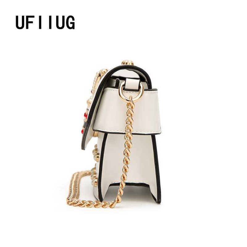 c71b15b626 New famous brand women messenger bags black small chain crossbody bags  female luxury shoulder bag pearl handbag 2019 Red White