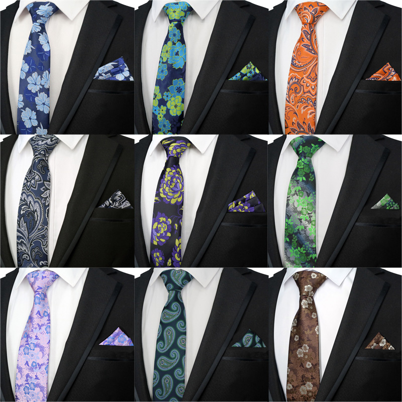 Men Gents/' Tie Necktie Skinny Business Classic Jacquard Woven Silk Clip Kerchief