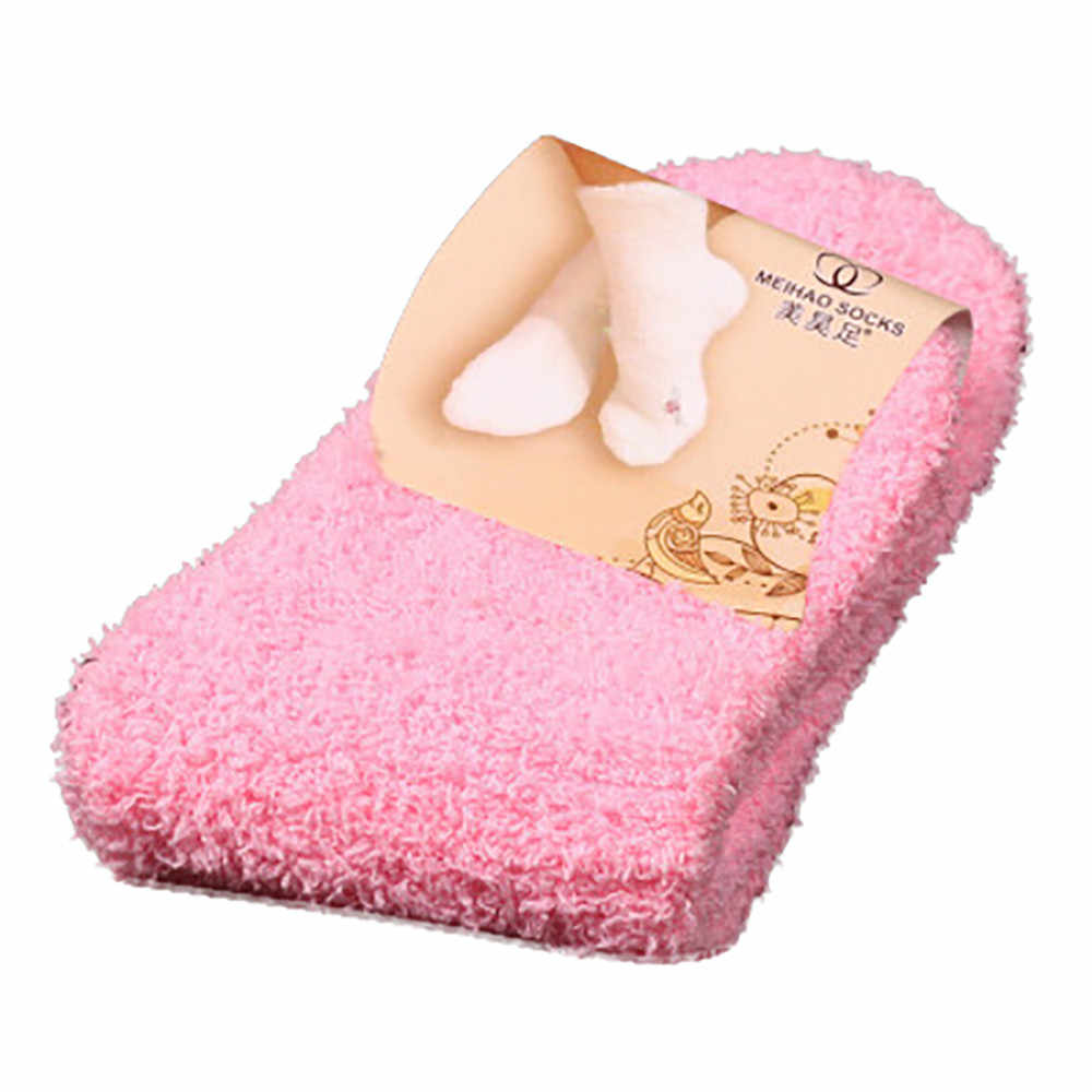 Home Women Girls Soft Bed Floor Fluffy Warm Winter Pure Color Socks New Arrived Winter Pure Color Coral velvet for Princess