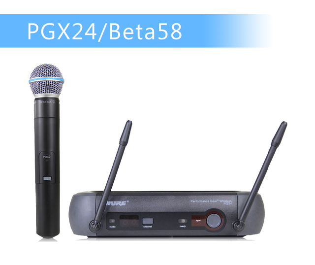 Free Shipping !! UHF Professional Wireless Microphone System PGX24/BETA58 PGX14 PGX4 PGX2 MIC for STAGE without  case!Normal box