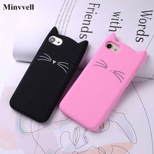For iPhone 6 6S 7 8 Plus X XS XR XS MAX Case 3D Cute Cartoon Animal Cat Ear Silicone Case For iPhone 5S SE 6 6S 7 8 Plus Capa(China)