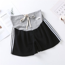 Summer pregnancy sports shorts fashion maternity stomach lift five pants side seam three bars beach shorts for pregnant women summer casual loose maternity shorts low elastic waist side white strip pregnancy short pants stomach lift pregnant shorts