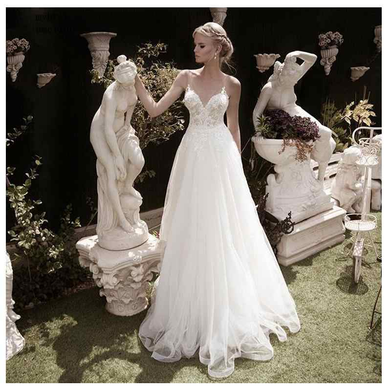 Sexy vestido de casamento 2019 praia vestido de noiva laço superior apliques sem encosto barato modesto venda quente vestidos china nupcial turquia boho